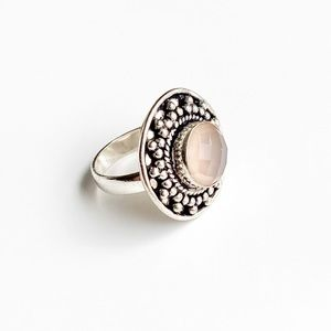 Free People Rose Quartz Silver Ring Size 6